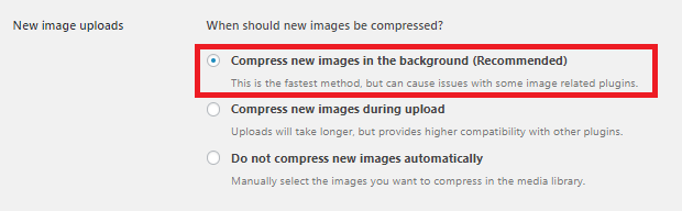 Compress JPEG & PNG images New image uploadsの設定